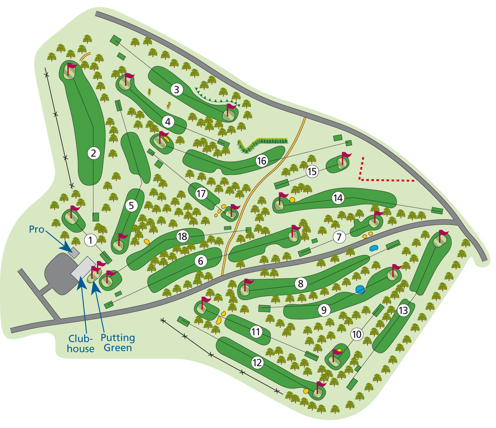The course plan for Huntercombe Golf Course